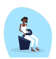 confused african american businesswoman sitting vector image