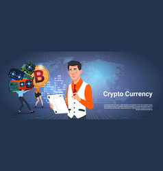 Crypto currency banner man and woman holding vector