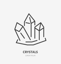 Crystal flat line icon gem stone magic crystals vector
