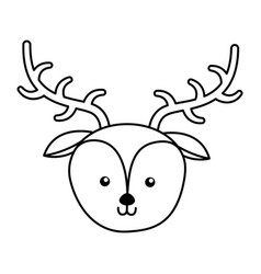Cute deer face cartoon vector