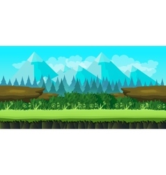 Cute game background of mountains and grass vector