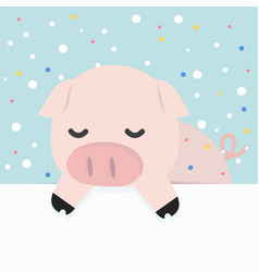 Cute little pig holding empty blank board vector