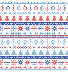 Dark and light blue and red Christmas pattern vector image