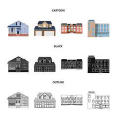 Design of building and front icon set of vector