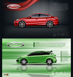 digital red model sedan car vector image