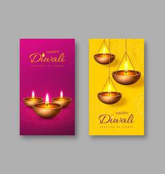 Diwali festival lights holiday poster vector