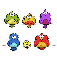 Doodle set of birds vector