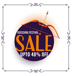 Dussehra festival sale banner with bow and arrow vector