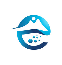 E letter mountain and water logo vector