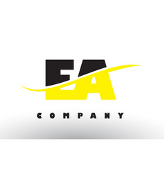 Ea e a black and yellow letter logo with swoosh vector