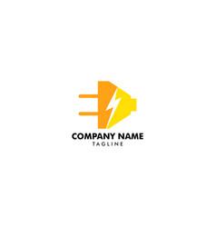 electrical plug and thunderbolt logo design vector image