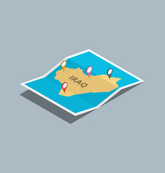 Explore iraq maps with isometric style and pin vector