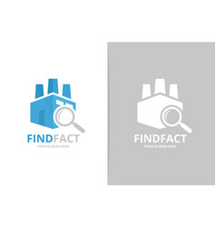 factory and loupe logo combination unique vector image