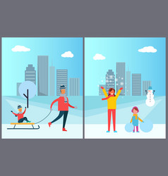 father carrying child on sleigh mother and vector image