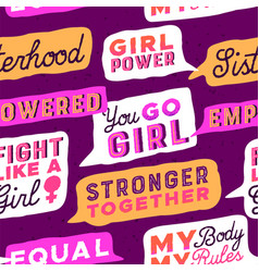 feminist power quote seamless pattern vector image