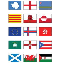 flag set world continents and misc countries vector image