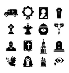 funeral ritual service icons set simple style vector image