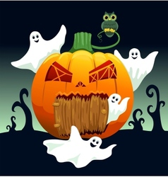 Ghosts and pumpkin house vector image
