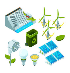 green energy saving factory power electric hydro vector image