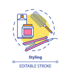 Hair styling concept icon care products vector
