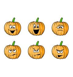 halloween face pumpkins vector image