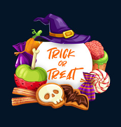 halloween pumpkins witch hat sweets and candies vector image
