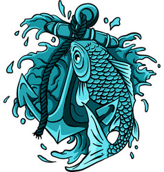hand drawn outline koi fish and water splash vector image
