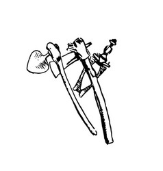 hand drawn sketch of native african weapon black vector image