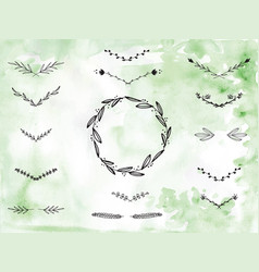 Handpainted branches wreath clip art vector