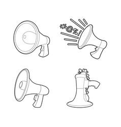 handspeaker icon set outline style vector image