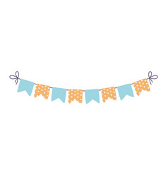 Happy birthday pennants dots decoration ornament vector