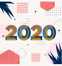 Happy new year 2020 multi colored abstract vector