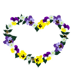 heart frame made pansies isolated on white vector image