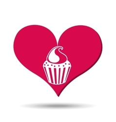 Heart red cartoon cupckae chips icon design vector