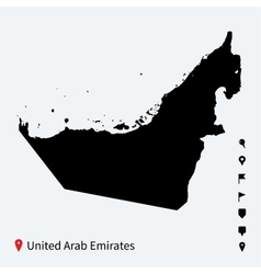 High detailed map of United Arab Emirates with vector