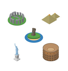 Isometric architecture set of chile new york vector