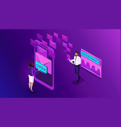 Isometric business men and business women browse vector