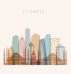 istanbul skyline detailed silhouette vector image