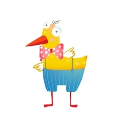 Kids Humorous Yellow Duck with Bow Tie vector image