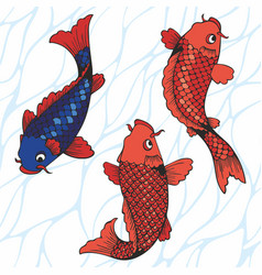 Koi carps hand drawing for vector