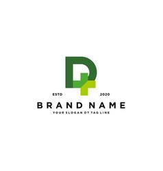 Letter d cross plus hospital medical logo design vector