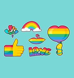 Lgbtqi rainbow pride different stickers set vector