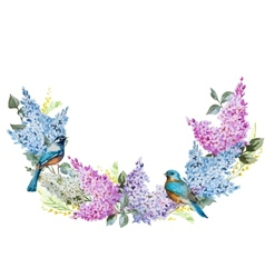 Lilac wreath and birds vector