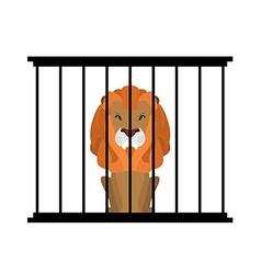 Lion in zoo cage Strong Scary wild animals in vector image