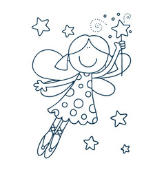 Little cute fairy in a pink dress with wings vector