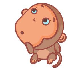 Little monkey lonely gesture scene vector