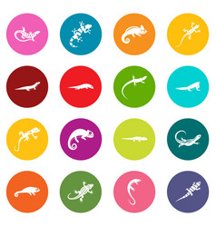 lizard icons many colors set vector image