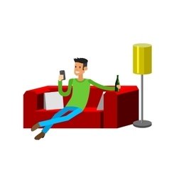 Man resting at home Laying on sofa vector image