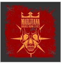 Marijuana Skull on grunge background for vector