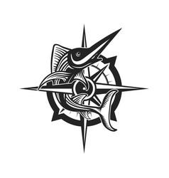 Marlin fish logo with compass vector